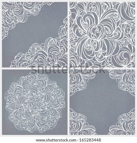 Vintage set: seamless lace pattern, round and corner decor. - stock vector