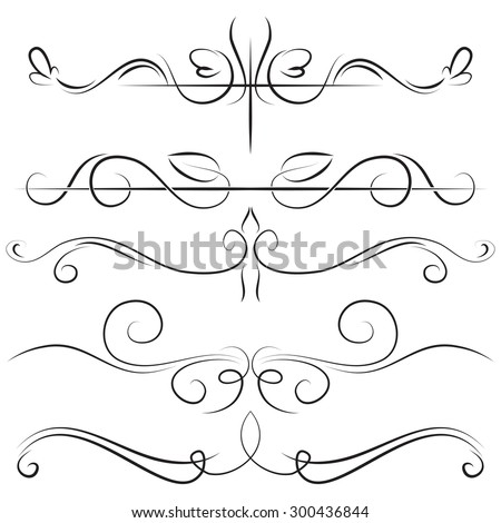 Vintage set vector border with swirls on a white background