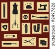 Vintage sewing and tailoring icons set - stock vector