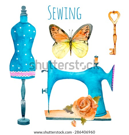 Vintage sewing machine, fashion mannequin, butterfly, key and rose isolated on white. Watercolor vector illustration for your design. - stock vector
