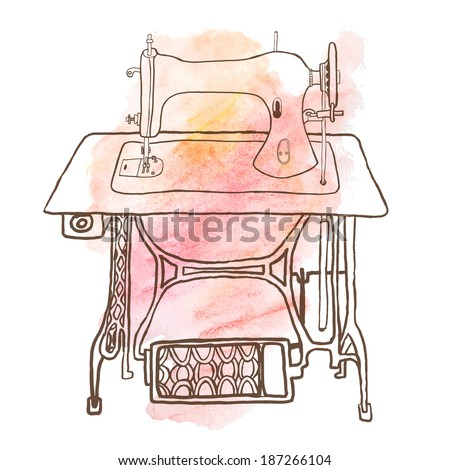 Vintage sewing machine on pink watercolor background | Looks great on flaires, brochures and other advertising - stock vector