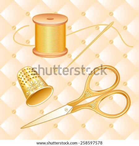 Vintage Sewing Set, engraved antique gold embroidery scissors, thimble, needle, spool of golden thread, cream quilted background, DIY. EPS8 has pattern swatch that seamlessly fills any shape. - stock vector