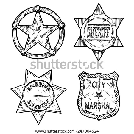 Vintage sheriff and marshal badges set stylized as engraving. - stock vector