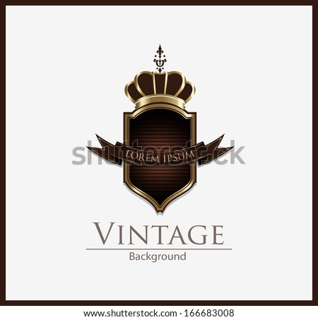 Vintage Shield whit crown - stock vector