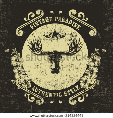 vintage shield with moose - stock vector