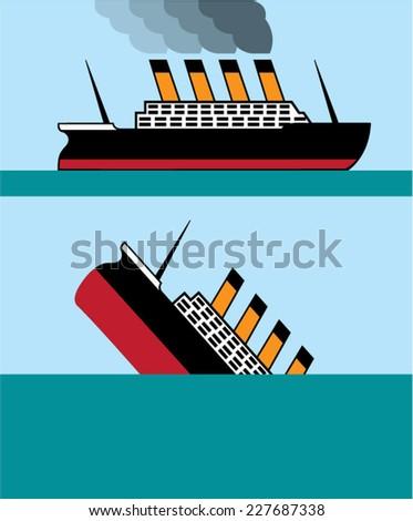 Vintage ship - stock vector