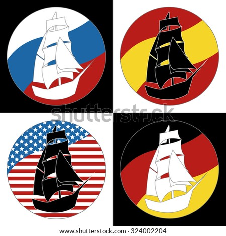 Vintage Ship Logo Sailing Boat design vector template. Ancient Pirate Sailboat Logotype silhouette concept icon. On the background of flags of countries: Russia, USA, Germany, Spain