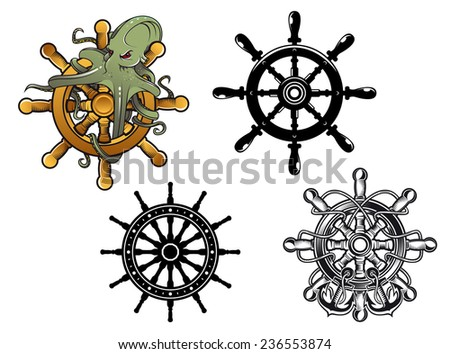 Vintage ships steering wheels with octopus and anchors, vector illustration - stock vector