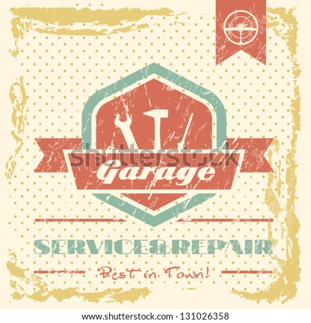 Vintage sign - Classic Garage - Vector EPS10 - stock vector