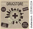 Vintage sign for the drugstores - stock photo