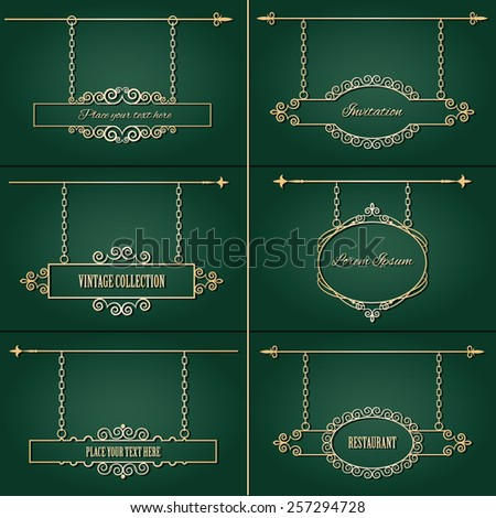Vintage signboard set in luxury style. Calligraphic design elements. - stock vector