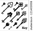 Vintage silhouette keys, decorative items - stock vector