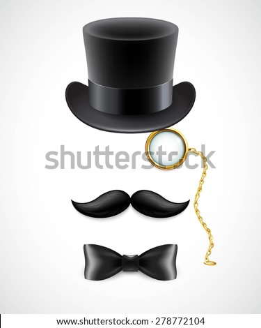 Vintage silhouette of top hat, mustaches, monocle and a bow tie. Vector illustration. EPS 10 - stock vector