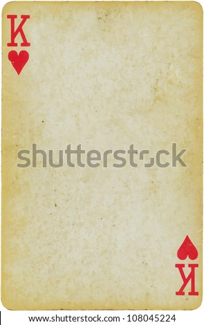 vintage simple background : playing card - king of hearts - stock vector