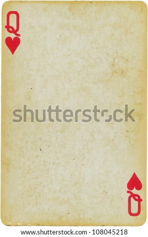 vintage simple background : playing card - queen of hearts - stock vector