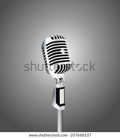 Vintage single retro silver metallic microphone. vector art image illustration, isolated on white background