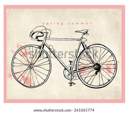vintage sketch bicycle - stock vector