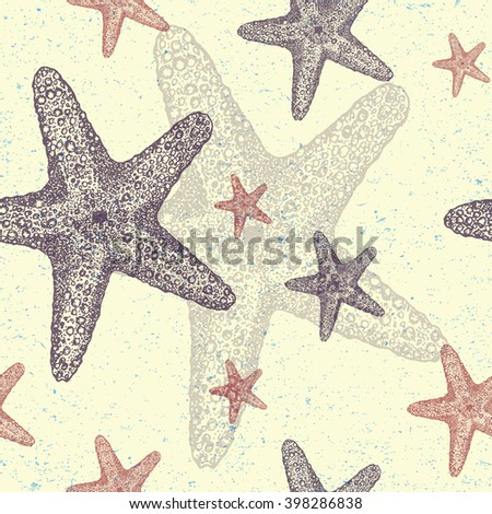 Vintage sketch of starfish. Hand drawn illustration in stippling style. Seamless pattern.