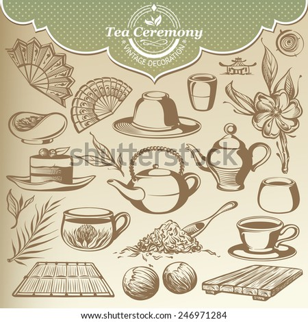 Vintage Sketches Items for Tea House - stock vector