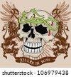 vintage skull - stock vector