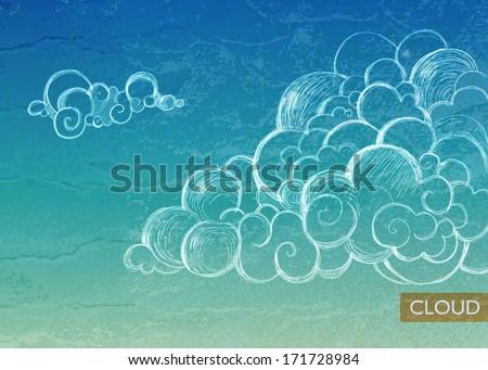 Vintage Sky background. Clouds - stock vector