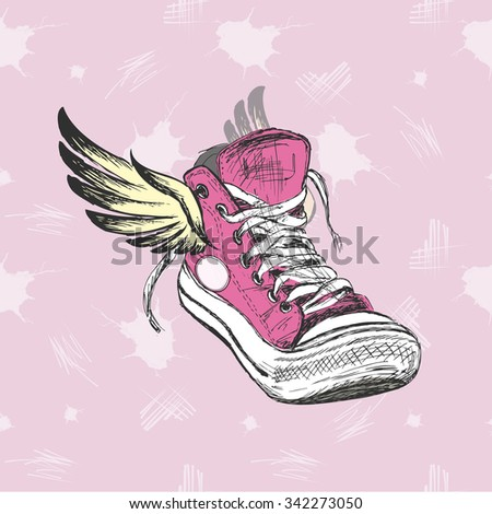 Vintage Sneakers with wings, hand drawing, vector illustration - stock vector