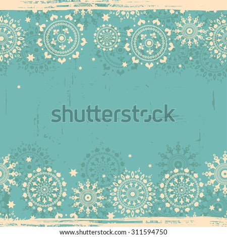 Vintage snowflakes shabby seamless border.  All elements of composition located on separate layers and can be easy editable - stock vector