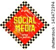 vintage social media sign, grungy, vector - stock vector