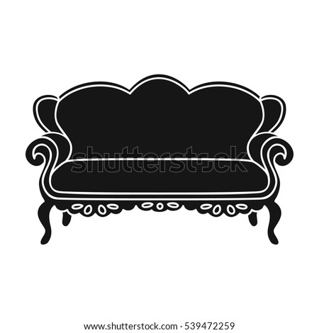 Vintage Sofa Icon Black Style Isolated Stock Vector 539472259