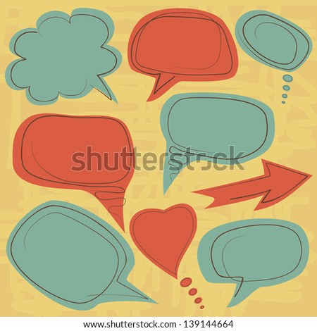 vintage speech balloons - stock vector