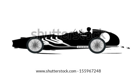 Vintage Sports Racing Car Silhouette 1 - stock vector