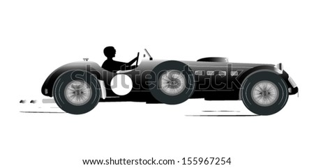 Vintage Sports Racing Car Silhouette 5 - stock vector