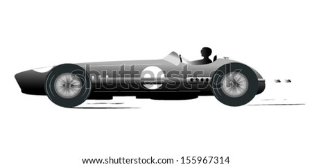 Vintage Sports Racing Car Silhouette 2 - stock vector