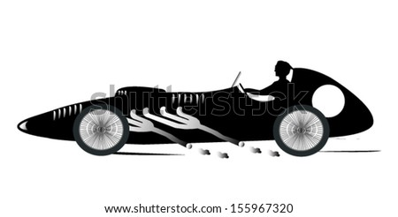 Vintage Sports Racing Car Silhouette 3 - stock vector