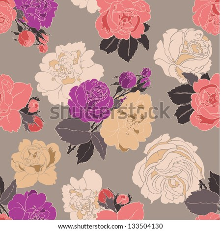 Vintage Spring Roses Seamless Pattern. Copy that square to the side and you'll get seamlessly tiling pattern which gives the resulting image ability to be repeated or tiled without visible seams.