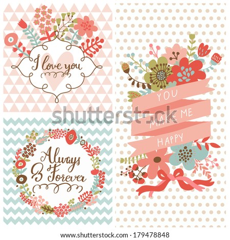 Vintage spring set. Stylish floral cards with labels, ribbons, hearts, flowers. Save the date invitations in vector - stock vector