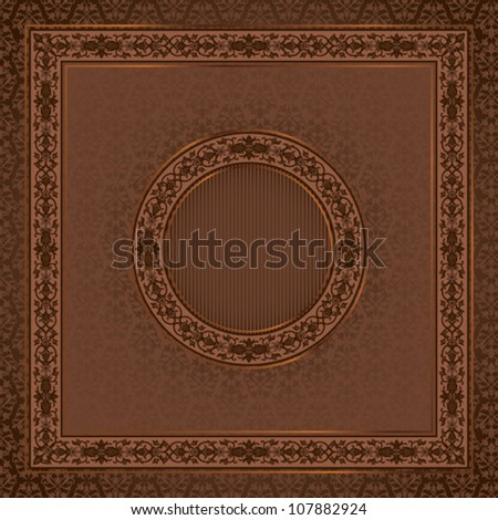 Vintage  square card on damask seamless background with a round frame in the center
