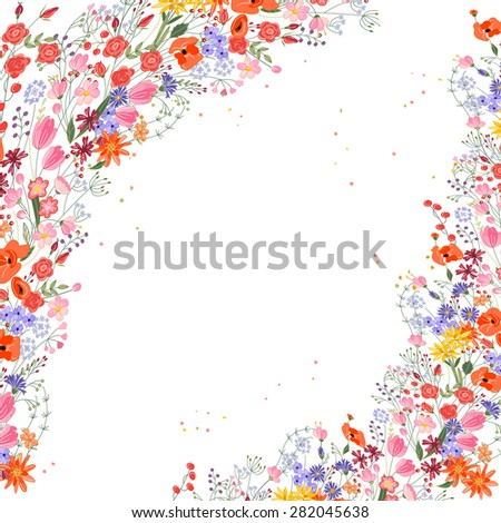 Vintage square frame with contour field flowers on white - stock vector