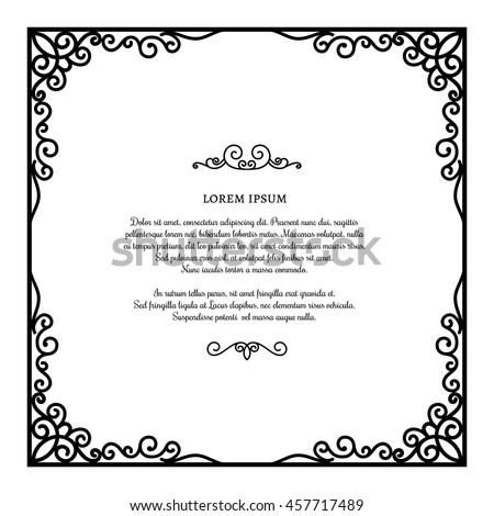 Vintage square frame ornamental corners vector stock vector royalty vintage square frame with ornamental corners vector scroll embellishment on white certificate or invitation stopboris