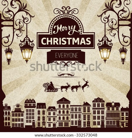 Vintage  square monochrome brown-white retro Christmas card  with grange retro background, design elements, lights, reindeers, santa. For book cover, cd cover, advertisement, backdrops, wallpaper. - stock vector