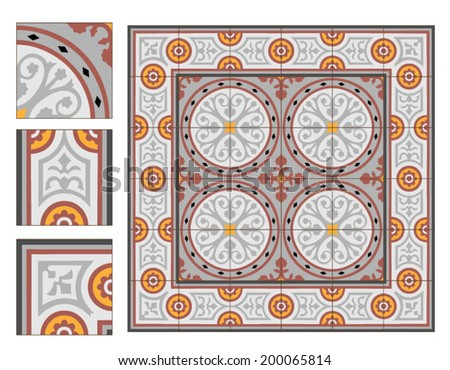 vintage square paving tiles patterns with example - stock vector