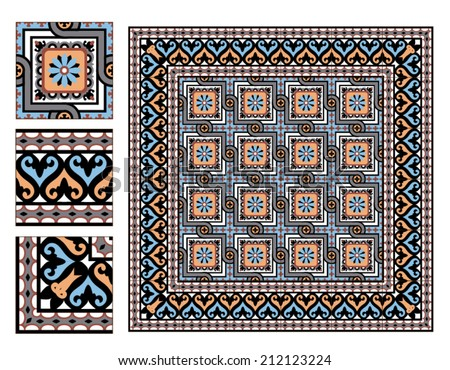 vintage square paving tiles with example - stock vector