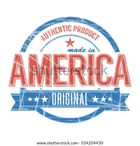 Vintage Stamp with grunge made in America sign - stock vector