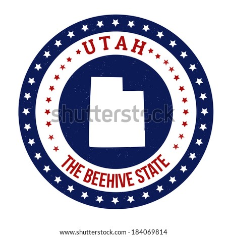 Vintage stamp with text The Beehive State written inside and map of Utah , vector illustration - stock vector