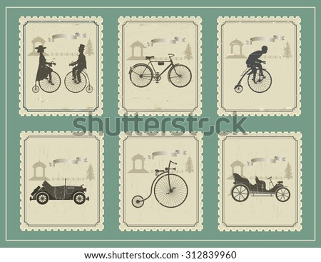 vintage stamps for your cards on the green table vintage stamp depicting bicycles, cars and a young couple on a green background.   - stock vector