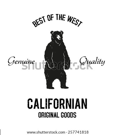 Vintage standing bear black and white logo. Old style vector typographic emblem. - stock vector