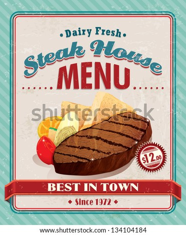 Vintage steak house poster design - stock vector