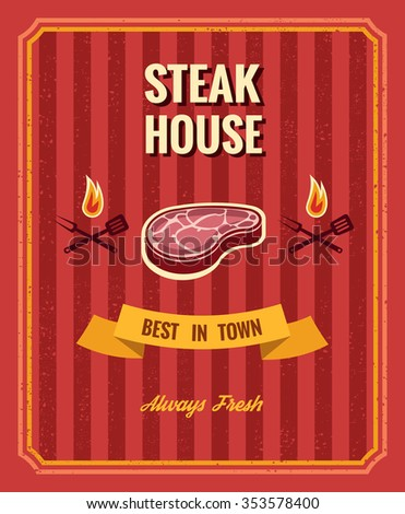 Vintage steak poster vector template. Restaurant barbecue, menu grill illustration - stock vector