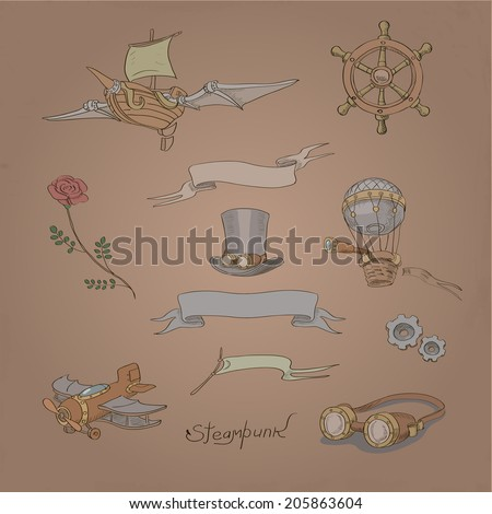 Vintage Steampunk vector design set with flower, ship wheel, rose, ribbons and airplane - stock vector