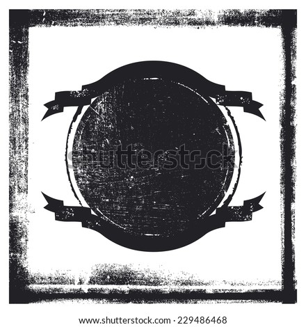 vintage stencil shield with grunge frame - stock vector